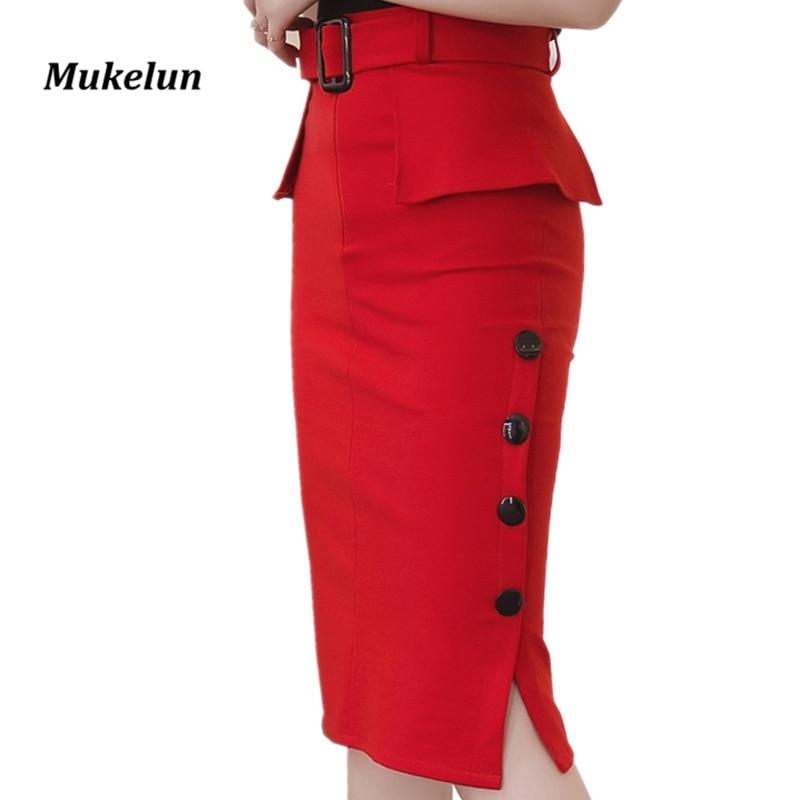 Fashion New Arrival 2019 Summer High Waist Midi Skirt Red Black Bodycon Pencil Skirts Buttons Open Slit Elegant Womens Skirts