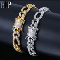 Hip Hop Bling Iced Out Clasps Full 3A Paved Rhinestone Men's Bracelet Gold Silver Copper Miami Cuban Bracelets For Men Jewelry