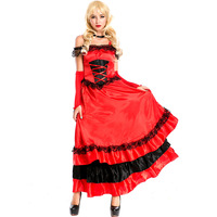 Ladies Sexy Saloon Girl Wild West Burlesque Cowgirl Fancy Dress Costume Cosplay Opera Costume Red Evening Dress Dinner Dress