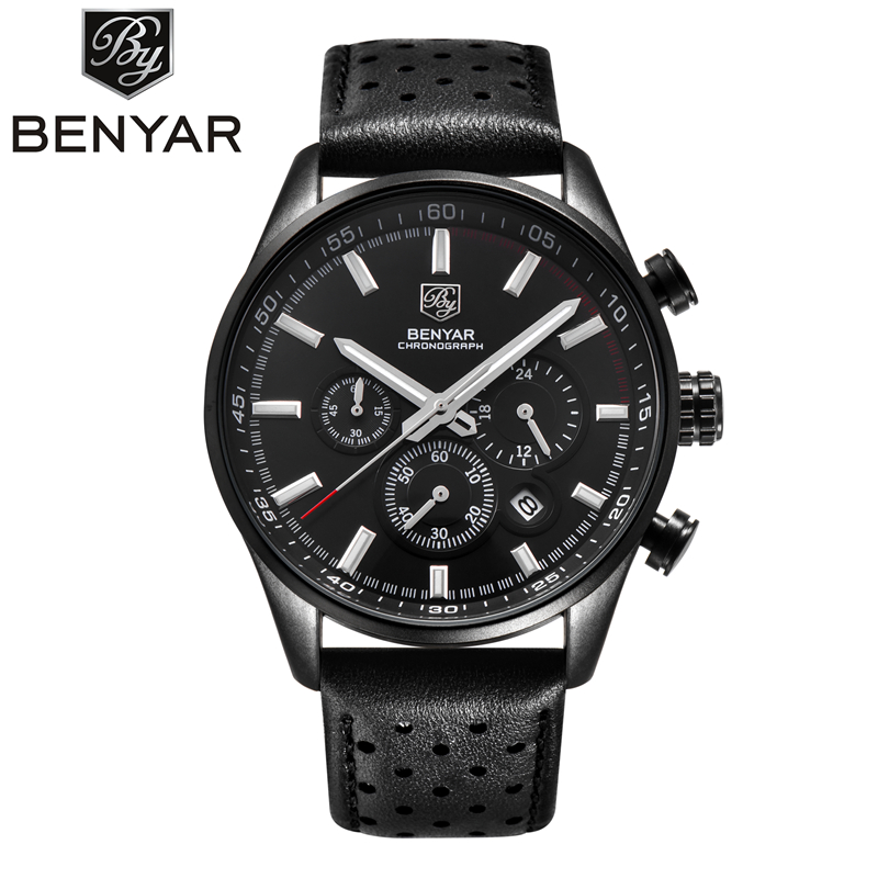 Relogio Masculino BENYAR Watches Top Brand Luxury Mens Sport Military Army Chronograph Quartz Wrist Watch Clock Men Reloj Hombre reef tiger brand men s luxury swiss sport watches silicone quartz super grand chronograph super bright watch relogio masculino