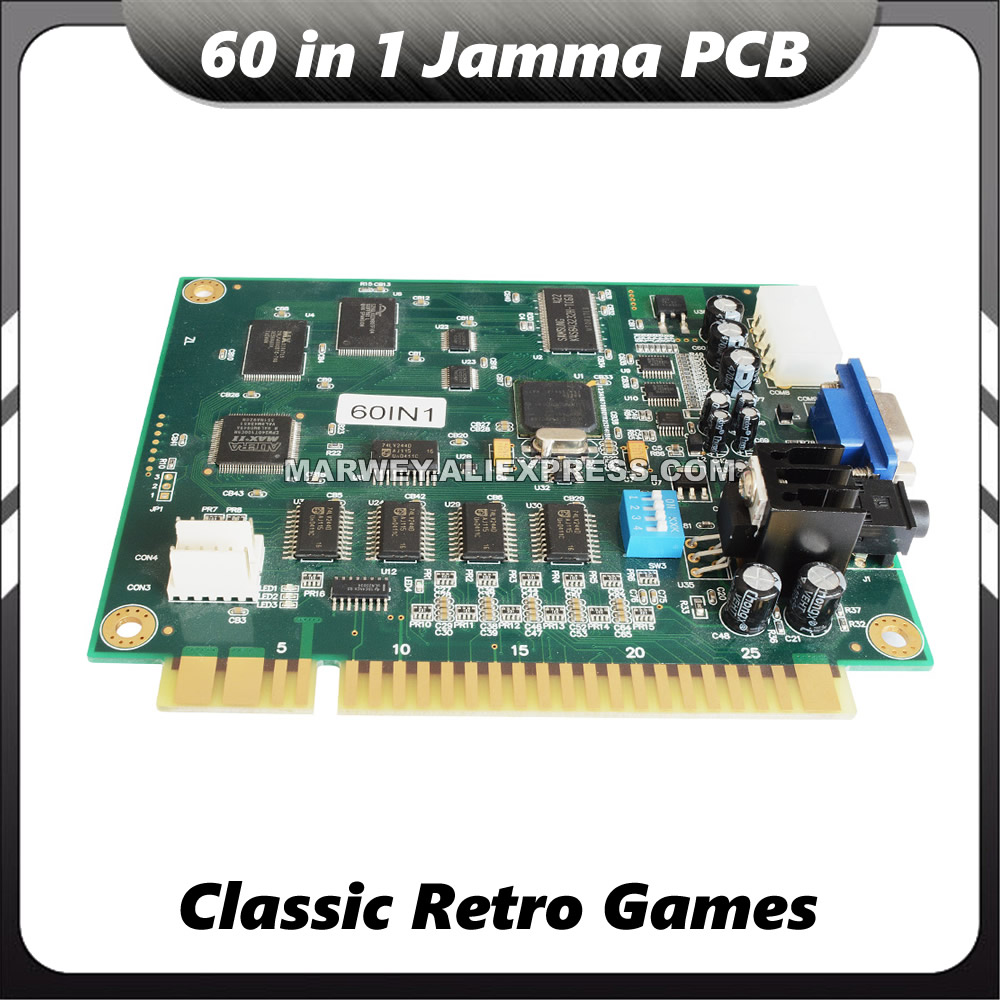 60 in 1 Multi Game PCB Casino Cocktail Arcade Parts Cabinet Multigame Jamma Board DIY Classical