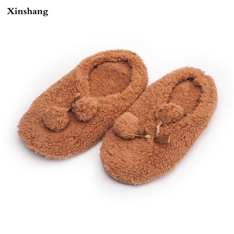 2017 Winter Women Home Slippers For Indoor Bedroom House Soft Bottom Cotton Warm Shoes Adult Guests Flats Female 2 Balls Slippe home slippers soft plush cotton cute slippers shoes non slip floor indoor house home fur slippers women shoes for bedroom