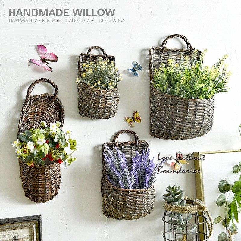 Hecho a mano willow cestas de flores con flores Artificiales Jardín Colgante Ret