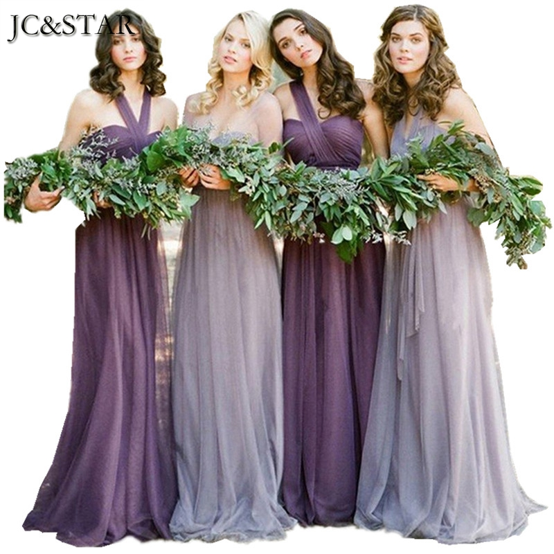 Jc star 2017 new variety to wear convertible dresses long for Wedding dresses with purple trim