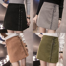 Autumn High Waist Suede Sexy Bag Hip Mini Skirt Fashion Leather Skirt Elegant Front Lace-up Ladies Skirts Free Shipping 2019(China)