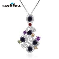 Mopera 925 Sterling Silver Pendant Necklace Natural Black Sapphire Garnet Amethyst Citrine Hyperbole Plant Pendant Fine