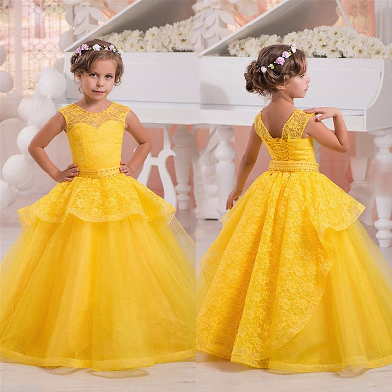 dfe6ea897b2 2016 Yellow Pink children Toddler Pageant Dresses First Communion ...