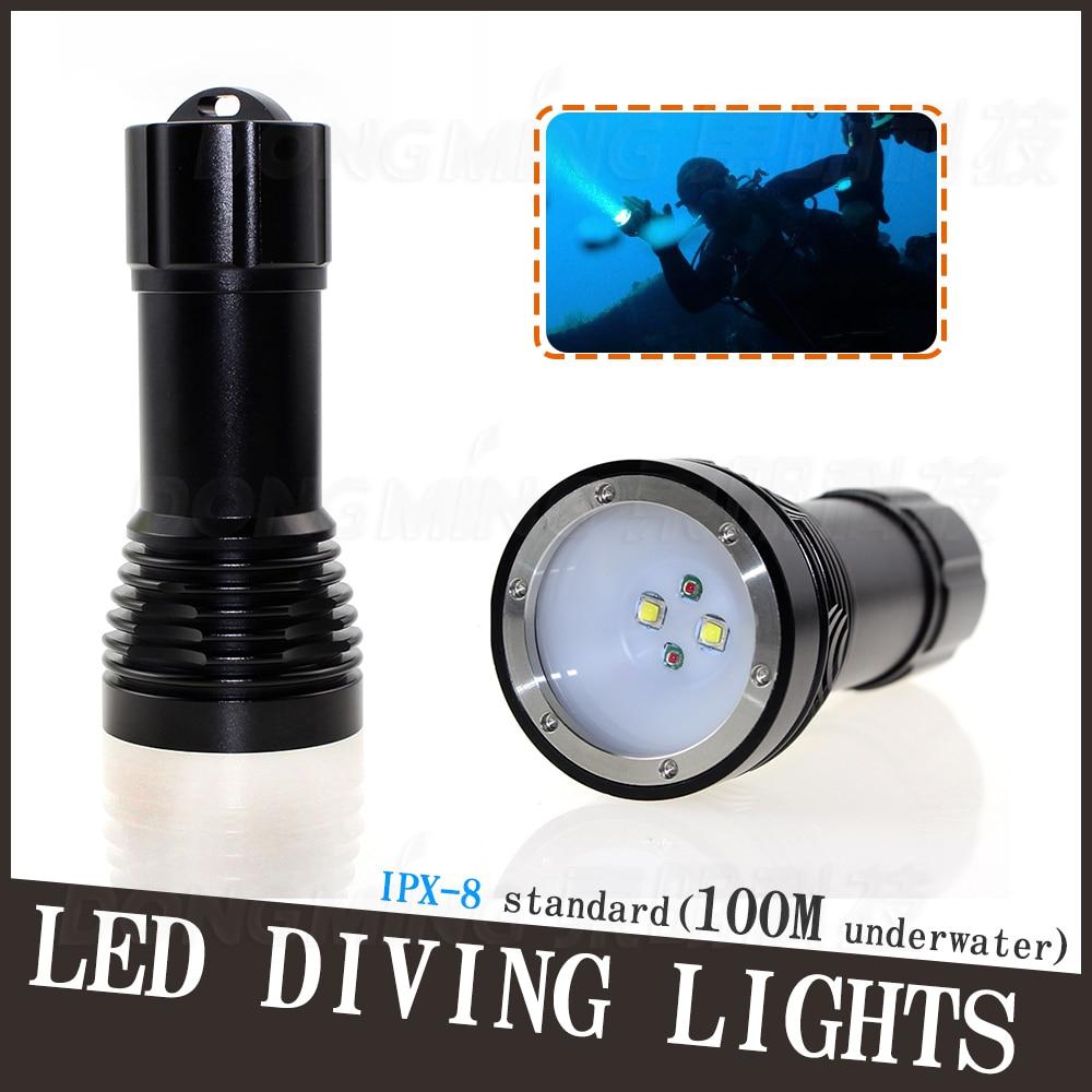 Diving flashlight Underwater lantern waterproof linterna led 4CREE xml T6 4500 lumen Dive depth scuba 100 meter on 26650 battery