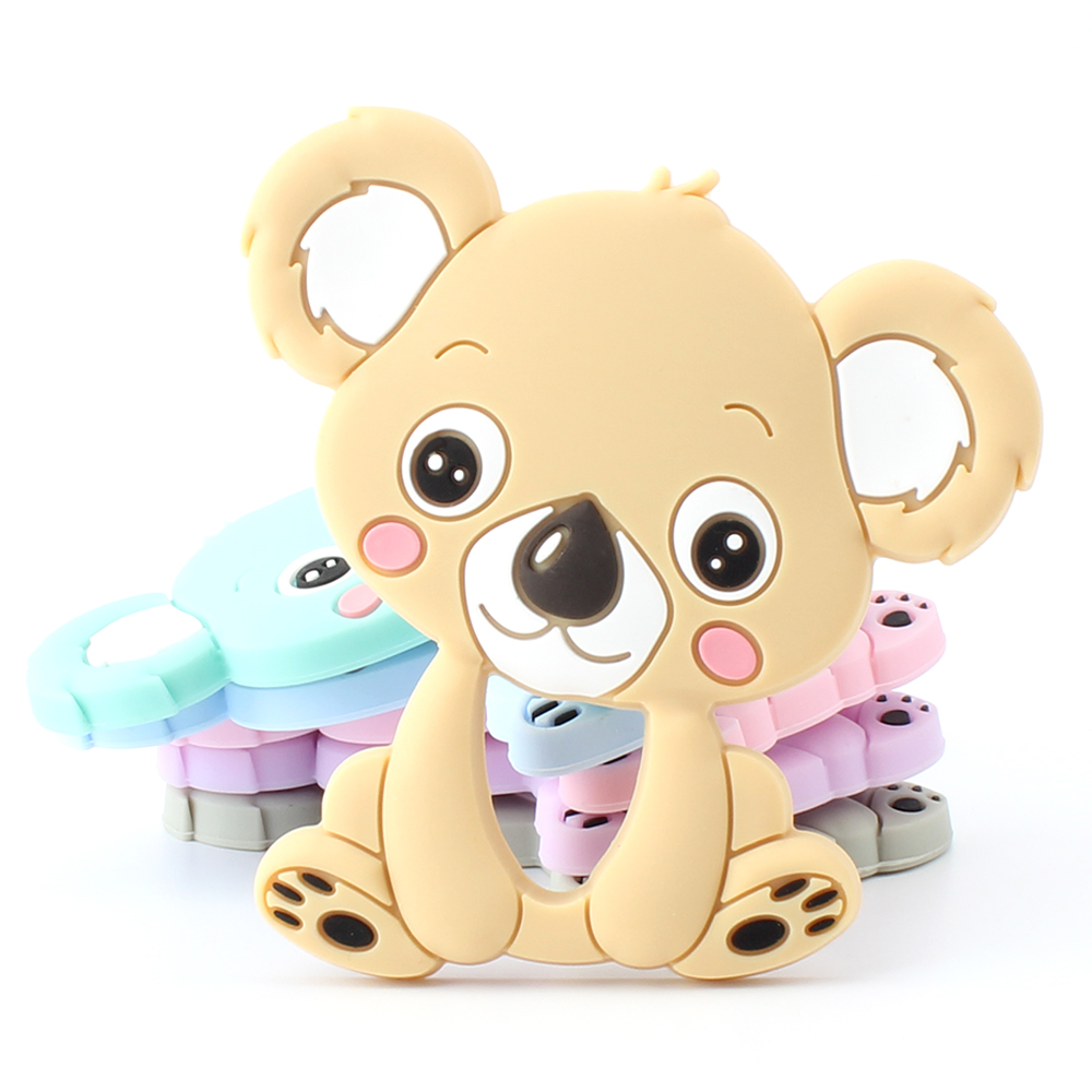 1pcs 90mm Silicone Koala Baby Teethers Rodent Beads DIY Chew Necklace Pacifier Chain Pendant Food Grade Silicone BPA Free
