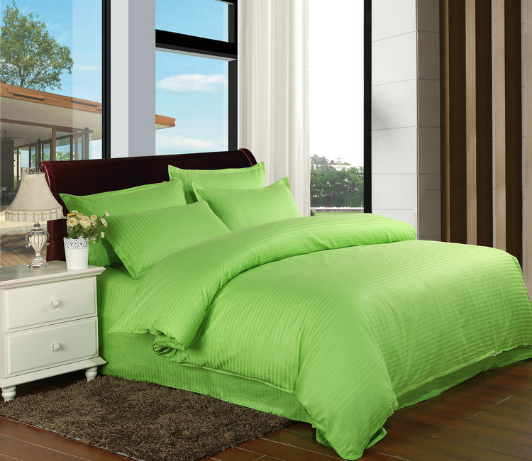 1pcs 100% Cotton Green Solid Color Satin Stripe Duvet Cover Hotel Home Luxury Classic Quilt Cover Twin Full Queen King Size