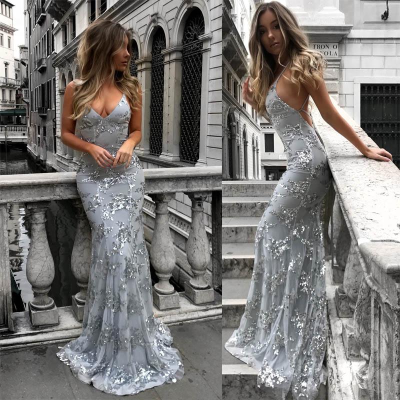 Elegant Summer Strapless Sequined Dress Women 2018 Sexy Backless Maxi Party Dress Vintage Slim Mermaid Desses Female Vestidos