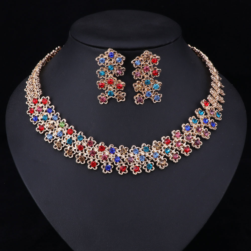2019 African Costume Jewelry Sets Gold Color Fashion Necklace Earrings For Women Crystal Party Accessories From Jingchengyan 36 78 Dhgate Com