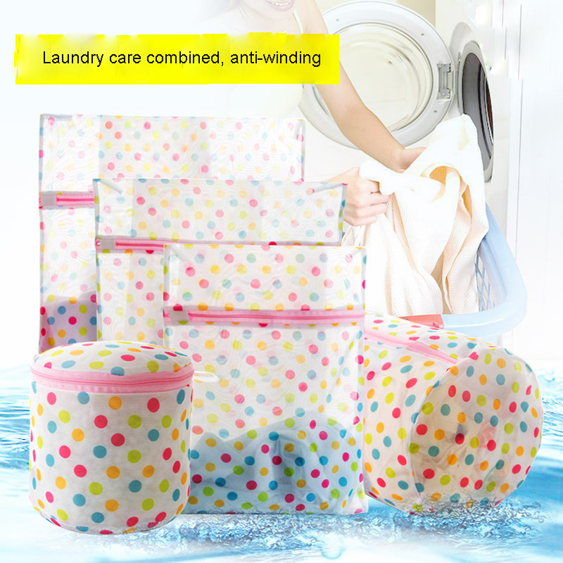 5PCS/set Creative Dot Clothes Wash Bag Underwear Bra Support Mesh Protective Net Wash Mesh Bag Laundry Bags