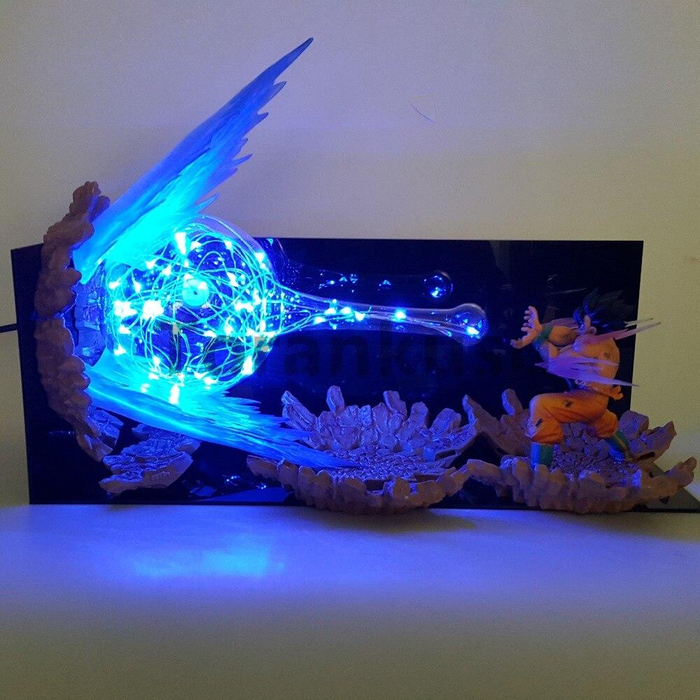 Dragon Ball Z фигурку модель игрушки сын Goku kamehameha светодио дный взрыв сцены DIY фигурка игрушки Dragon Ball Супер Гоку