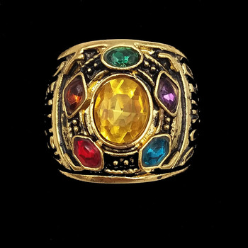 Marvel Avengers: Infinity War Thanos Golden Infinity Metal Ring Costume Accessory Cosplay Pendants Action Figure Toys BKX83