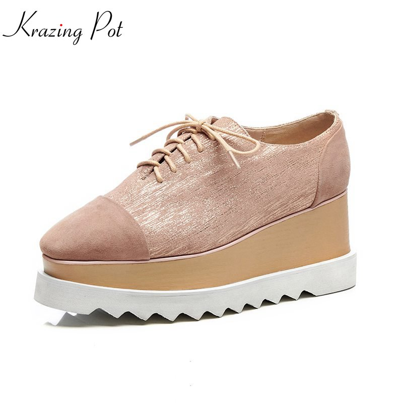 Krazing Pot 2018 new cow suede shoes women square toe women pumps wedge fashion high lace up thick bottom increased shoes L13