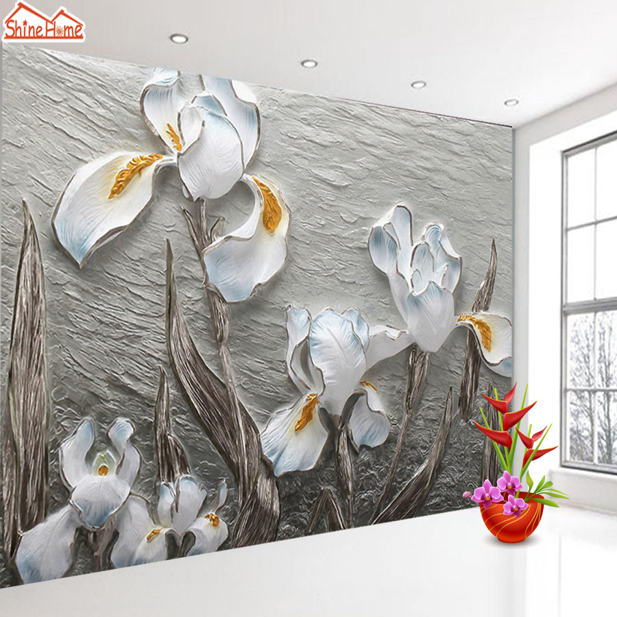 ShineHome-Custom Photo Wallpapers Walls 3d Living Room Embossed Flower Wall Daffodil Children Bedroom Mural Wall Paper Decor custom wallpaper for walls 3 d photo wall mural pastoral country road tv walls 3d nature wallpapers for living room