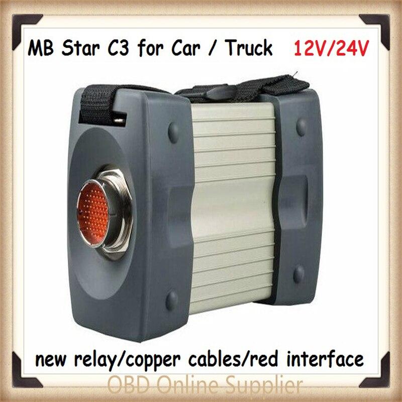 Prix pour Vente chaude (12 v/24 v) MB STAR C3 sans logiciel Tout Nouveau rouge Relais et cinq Forte Cuivre Câble étoiles c3 Soutien voitures et camions