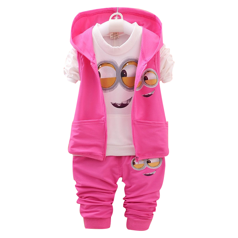 Kids Clothes Minions Baby Boy/Girl Clothing set 3pcs sport suit Casual Children T-shirt + Pants+Vest Boys costume child set flower sleeveless vest t shirt tops vest shorts pants outfit girl clothes set 2pcs baby children girls kids clothing bow knot
