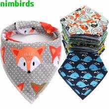 4 Pcs Baby Bibs for Boy Girl Bandana Bib Feeding Burp Cloth Print Animal Triangle Cotton Drool Bib Baby Scarf Meal Collar Burp