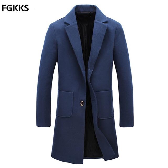 2016 Chegada Nova Marca Inverno Quente Homens Casaco de Lã de Moda Homens mistura Longo Casaco Casuais Slim Fit Homens Do Revestimento Tamanho M-5XL
