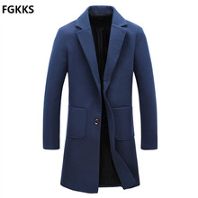 2016 neue Ankunft Marke Winter Warme Männer Mantel Mode Wolle mischung Männer Langen Mantel Casual Slim Fit Mantel Männer Größe M-5XL