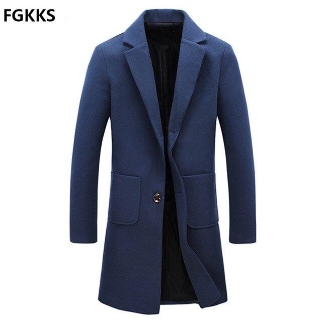 2016 New Arrival Brand Winter Warm Men Coat Fashion Wool Blend Men Long Coat Casual Slim Fit Coat Men Size M-5XL