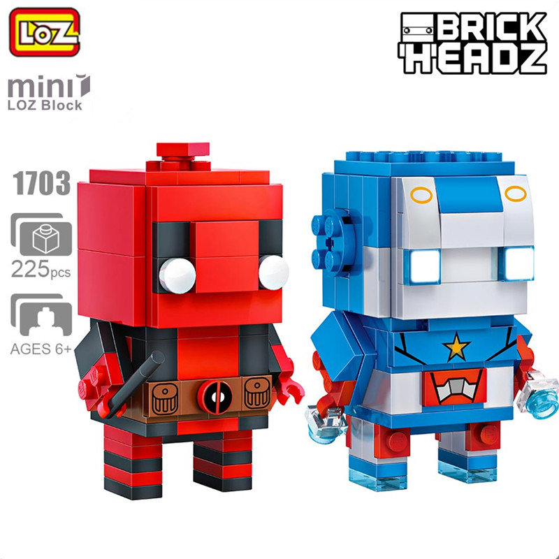 LOZ 225pcs Education Building Bricks Model Mini Action Figure Loz Blocks Ant Man Deadpool For Kids Gift Toys 2 In 1 loz 280pcs l 9522 deadpool action figure building block educational diy toy