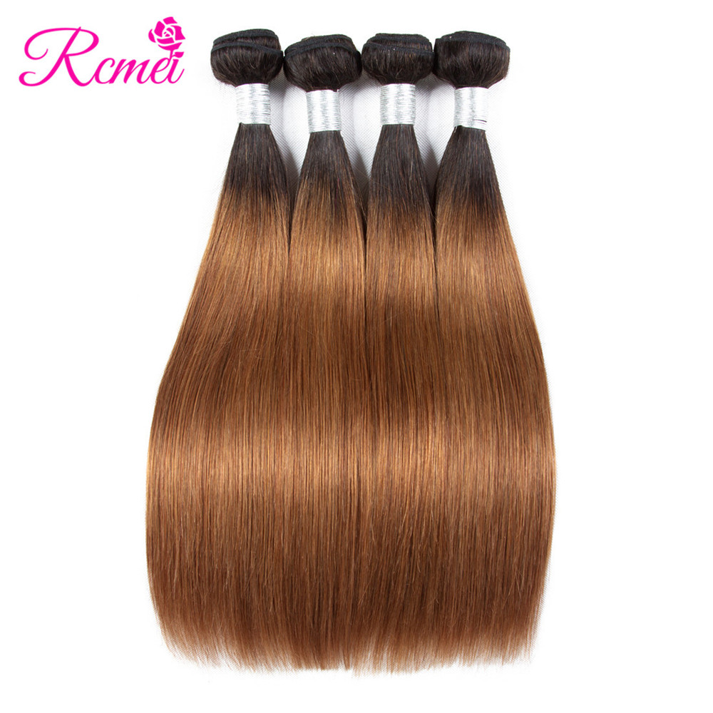 Hair Weaves Ombre Honey Blonde Brown Wine Red Colored Bundles Two Tone Dark Roots Brazilian Body Wave Hair Weave 3 Bundle Deal Nonremy Rcmei Human Hair Weaves