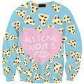 Hot Sale Women 2016 Autumn Fashion 3D Pizza Heart Print Cartoon Women/Man Hoody Long Sleeve Hoodies Sweatshirts Casual