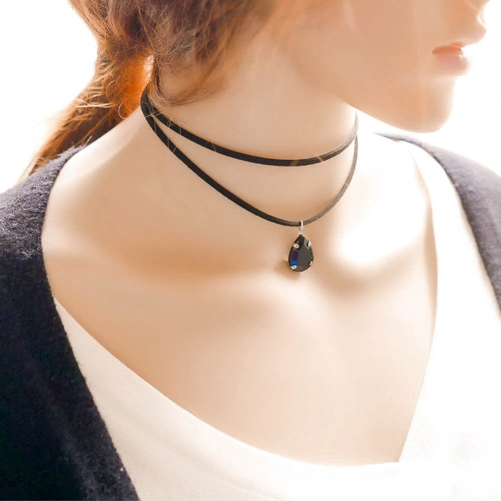shunyun Black Retro Gothic Collar Choker Lace Necklace Gems Pendant Beads Charms Vintage Steampunk For Women