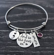 Adjustable Semicolon Jewelry And so she goes on Wire Bangle Custom Name & Birthstones Drop Shipping YP3089