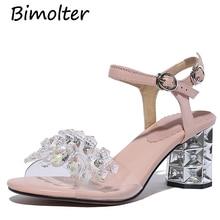 Bimolter 2019 Fashion Transparent PVC Shoes Sandals Crystal Open Toed High Heels Women Thick Heel Sandals Dress Pumps 6CM FB035 цена