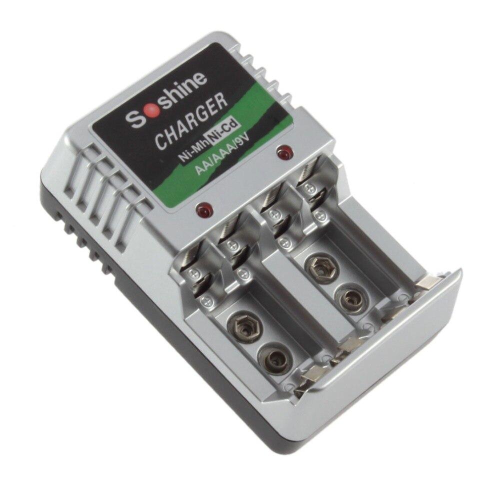 Soshine Rechargeable Battery Charger AA AAA 9V Ni-MH Ni-Cd Batteries Wall Desk Charging Chargers For Travel EU Plug Wholesale