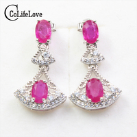 Fashion Ruby Drop Earrings For Party 4 Pcs Natural Africa Ruby Earrings Solid 925 Silver Ruby