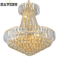 Royal Empire Silver Crystal Chandelier Light French Golden Crystal Hanging Light Diameter 20 Inch