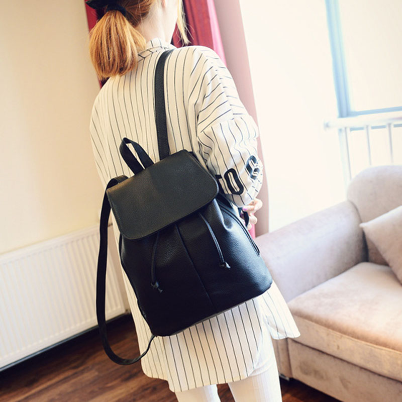 Simple Fashion Women Backpack Leather Drawstring Travel Shoulder Bags Ladies Girls Students School Bag Big Capacity BS88 цена и фото