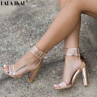 LALA IKAI Women Sandals 10cm Thick High Heels Shoes Sexy Transparent Clear Sandalias Mujer For Ladies