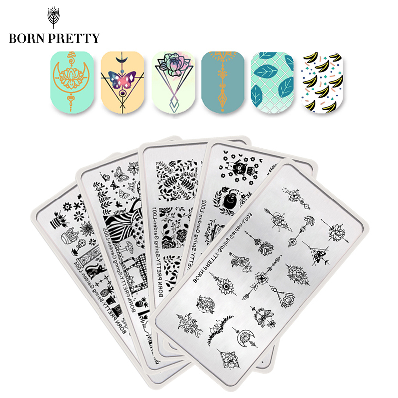 BORN PRETTY 5 Pcs Flower Leaf Nail Stamping Plate Set Spring Garden Series Template Rectangle Nail Art Image Plate