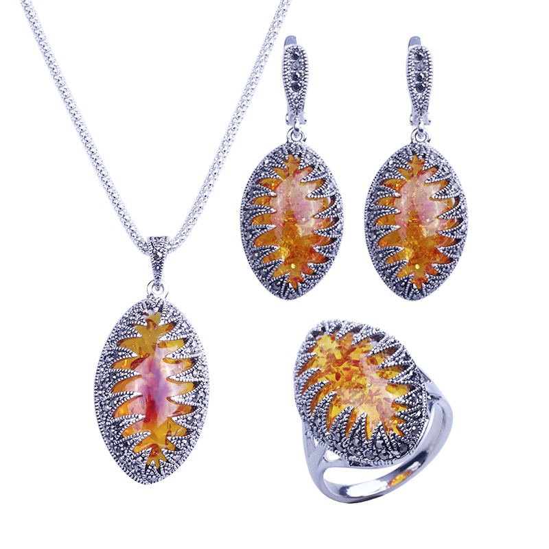 HENSEN Silver Plated Fashion Jewellery Necklace Set Vintage Black Rhinestone And Marquise Shape Faux Amber Women