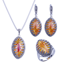 HENSEN Silver Plated Fashion Jewellery Necklace Set Vintage Black Rhinestone And Marquise Shape Faux Amber Women Jewelry Sets