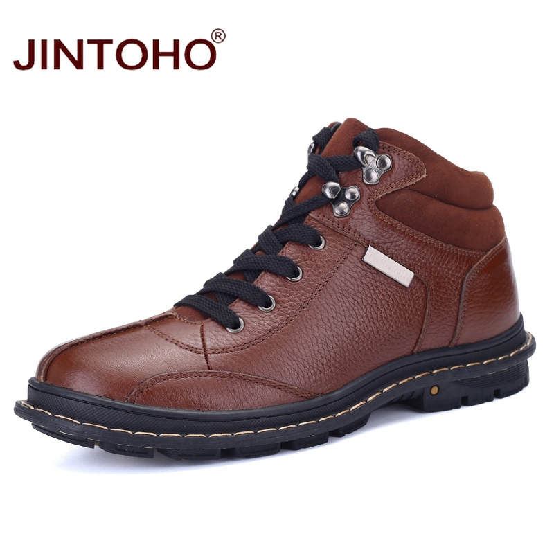 JINTOHO 2017 Hot Sale New Men Winter Shoes High Quality Men Genuine Leather Boots Shoes Warm Winter Male Boots Ankle Booties elevator shoes taller 2 56 inch winter genuine leather men boots fashion warm wool ankle boots men snow boots shoes hot sale