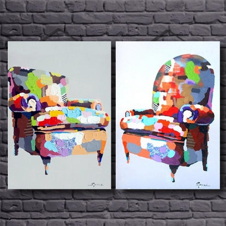 2018 Hot selling Modern Fashion Pictures Group Abstract Heavy Texture Colorful Sofa Oil Paintings on Canvas for Decoration