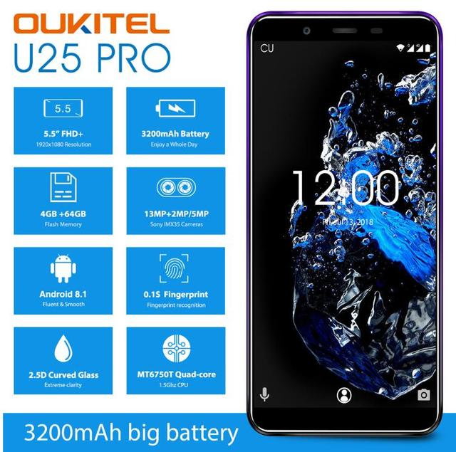 "OUKITEL U25 Pro 5.5"" FHD 4G SmartPhone MT6750T Octa Core 4GB RAM 64GB Android 8.1 13MP Dual Camera GPS Fingerprint Mobile Phone"