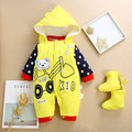 BibiCola newborn baby <font><b>rompers</b></font> winter toddler cotton warm long sleeve overalls for baby infant thick hoodies jumpsuits clothing