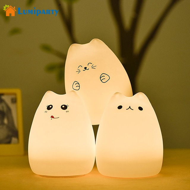 Lumiparty Cute Cat Led Children Night Light Multicolor Silicone Soft Baby Nursery Lamp Portable