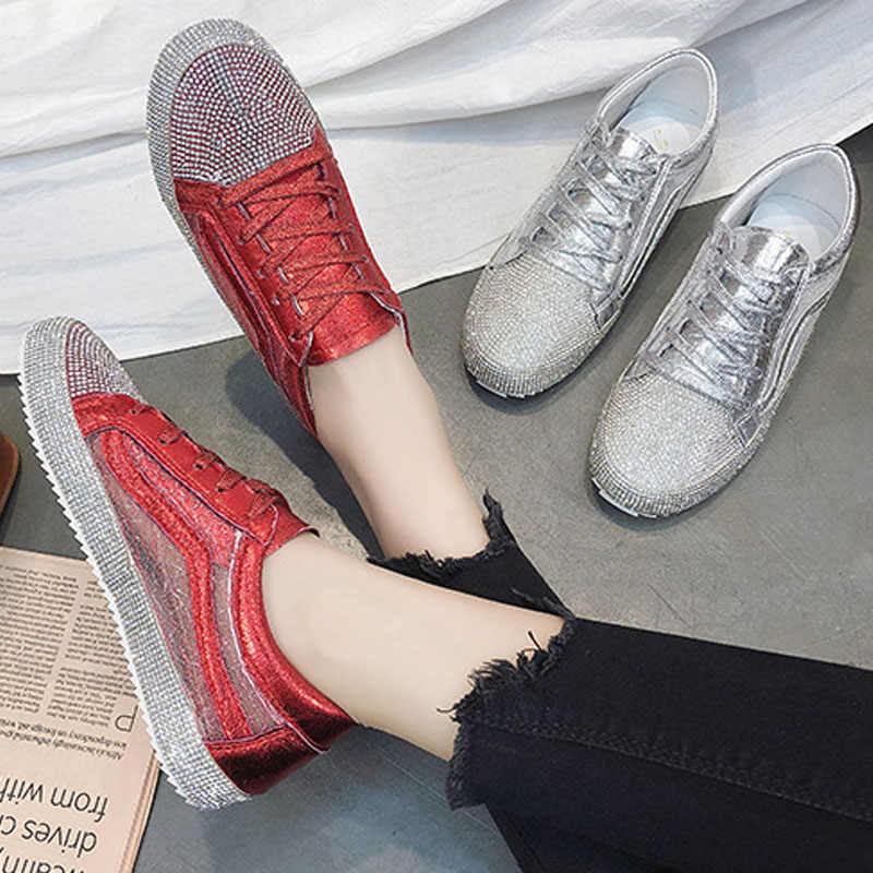 2018 Spring Fashion Lady Shine Shoes Women Sneaker Rhinestone Silver Girl Crystal  Bling Cross-tied f72756cccf3c