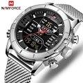 Männer Uhren NAVIFORCE Luxus Marke Mens Fashion Sport Uhr Voller Stahl Wasserdicht Quarz Armbanduhr Militär LED Digital Uhr-in Quarz-Uhren aus Uhren bei
