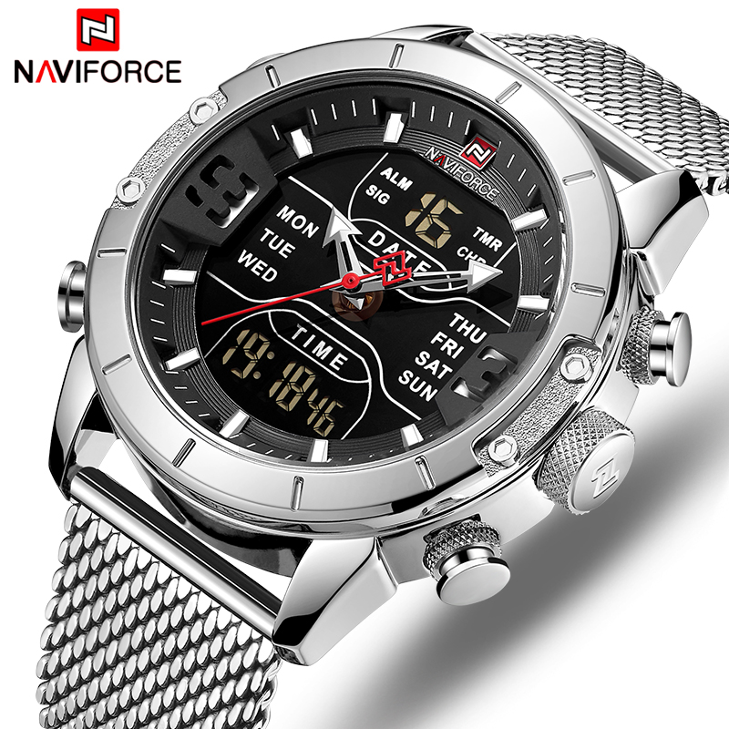 Men Watches NAVIFORCE Luxury Brand Mens Fashion Sports Watch Full Steel Waterproof Quartz Wristwatch Military LED Digital Clock