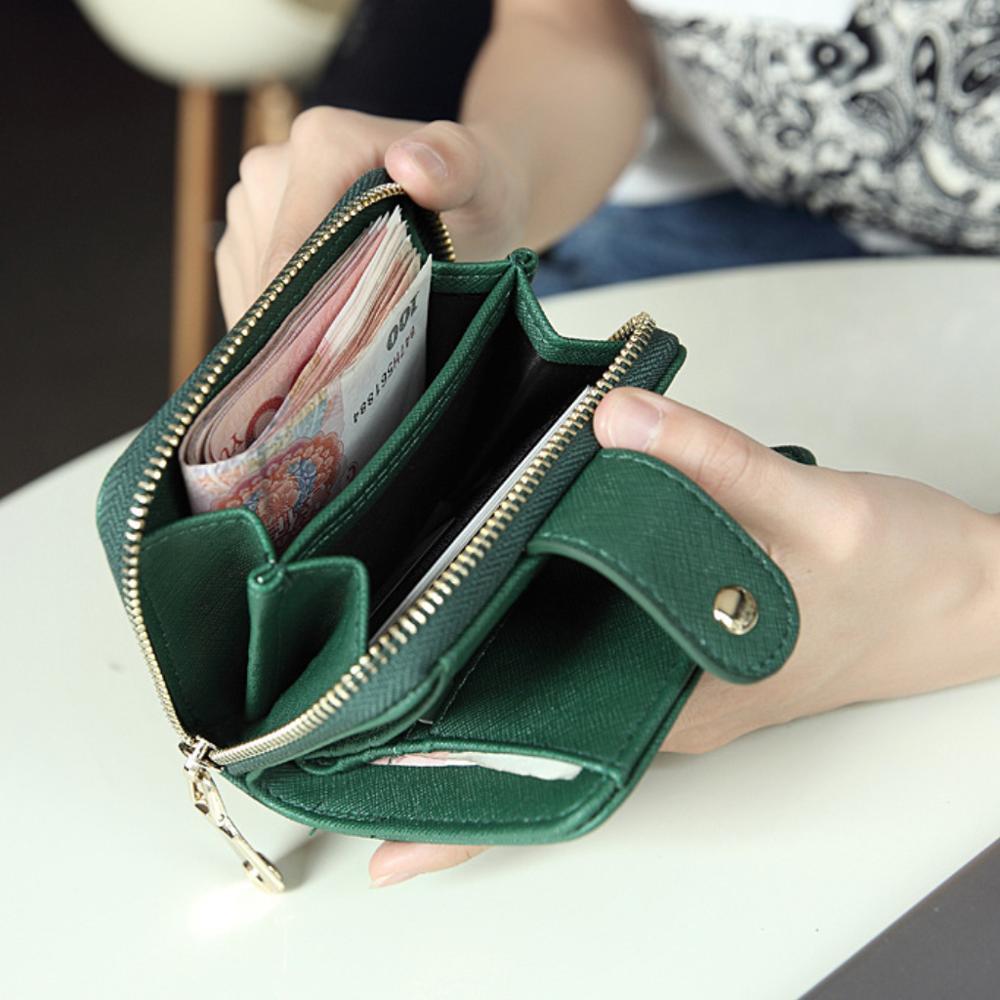Women Lady PU Wallet Short Zipper Wallet Card Holder Coin Purse Dating Shopping